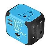 QWZ Adaptador de energía Internacional, Adaptador de energía Internacional Todo en uno con Puertos de Carga de Doble USB y Adaptador de Enchufe de UE/UE/UE/EE. UU. (Color : Blue)