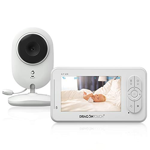 Babyphone met camera, video, babymonitor/babybewakingscamera, Dragon Touch 4,3 inch LCD-scherm nachtzichtcamera/temperatuurbewaking/VOX/slaaplied/intercomfunctie/DT40
