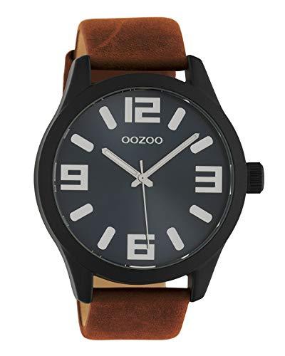 Oozoo Armbanduhr Basic Line mit Lederband 47 MM Black/Dunkelblau/Braun C10677