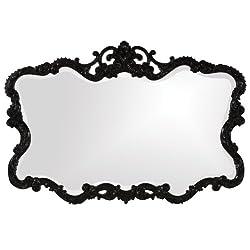 Howard Elliott Talida Mirror, Ornate Wall Focal Point, Resin Frame, Black, 27 Inch x 38 Inch x 1 Inch