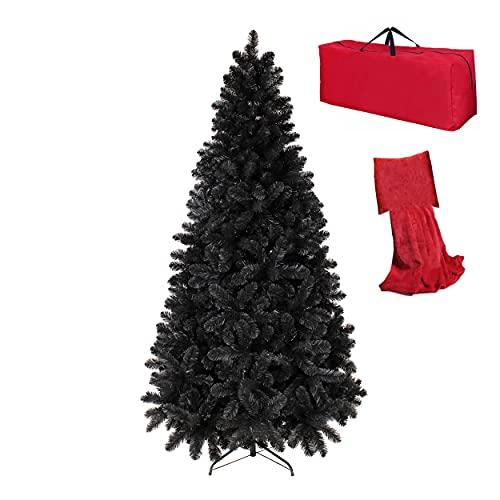 Totò Piccinni Albero di Natale Artificiale NOEL, Folto, Effetto Realistico, Rami a Gancio, Facile Montaggio, PVC, Ignifugo con Borsone (210 cm, Nero)