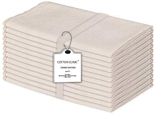 Baumwolle-Klinik 12er-Set Stoffservietten, Rustikal Servietten Hochzeit mit Spitze, Baumwolle Leinen Servietten Weich Gemütlich Maschinenwaschbar - 50x50 cm Natürlich