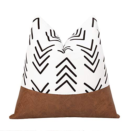 cygnus Boho Decorative Throw Pillow Covers Faux Leather Stitching White Cotton Canvas Black Arrow Pillowcase Modern Accent Cushion Cover Decor 18x18 inch