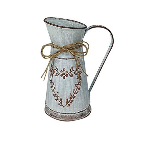 Banbry Blumenvase Herz Milchkanne Eisen Blumentopf Shabby Chic Deko Landhaus Vase Rustikal Blumeneimer Metall Eimer mit einzigartigem Herz- und Seil-Design für Heimdekoration