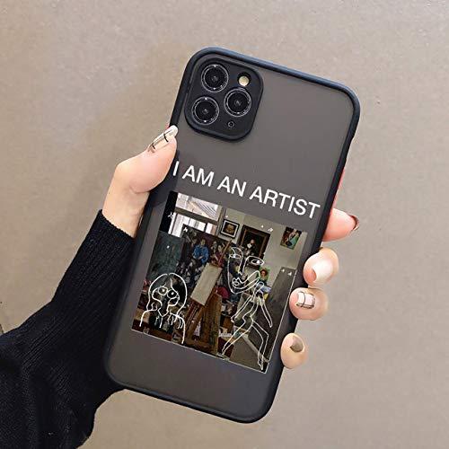Art Retro Abstract Geometry Funda para teléfono para iPhone 12 X XS MAX XR 11 Pro MAX 7 7 Puls 6 6S 7 8 Puls SE 2020 Linda Funda anticaída, Black Art 5, para iPhone 6 6s