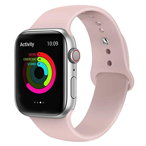 VIKATech Correa de Repuesto Compatible con Apple Watch de 40 mm 38 mm, Correa de Silicona Suave de Repuesto para iWatch Series 4/3/2/1, S/M, Pinksand