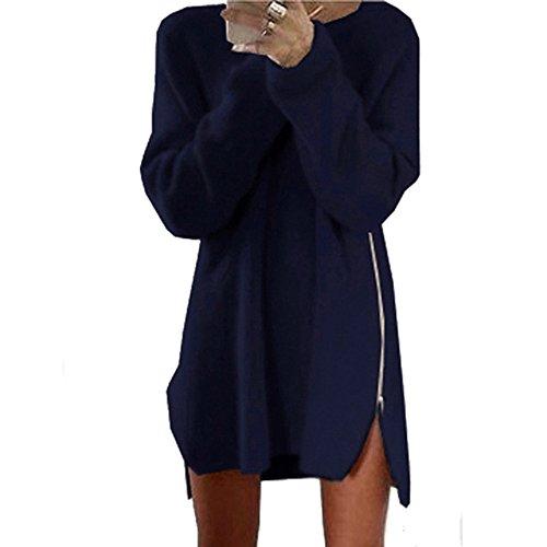 Damen Pullover Sweatshirt Ronamick O–Ausschnitt Sweaterkleid Seitlicher Reißverschluss Lange Ärmel Gestrickte Strickjacken Strickpullover Strickpulli(S, Marine)