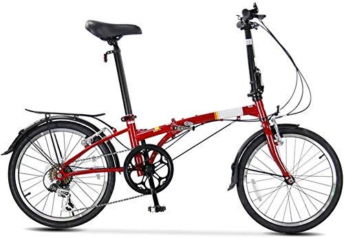 Bicicleta plegable de 20 pulgadas, ligera, pequeña y portátil, 6 velocidades, para ciudad, plegable, compacta, para estudiantes, coche, para adultos
