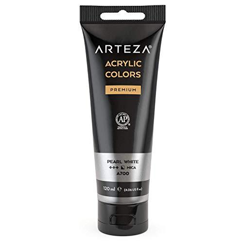 ARTEZA Metallic Acrylic Paint, (Pearl White A205) 120 ml/tube, Highly Pigmented...