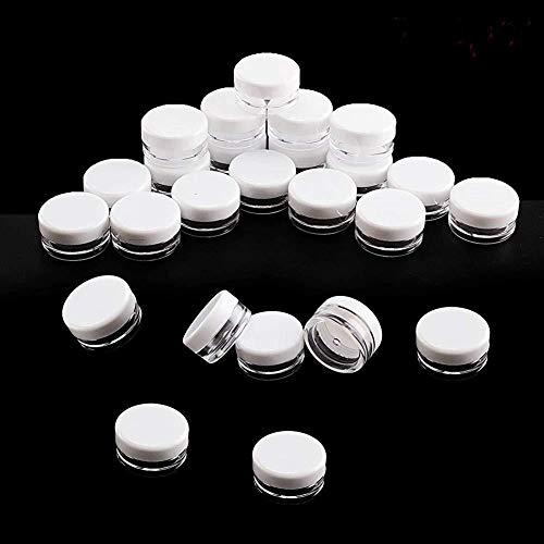 DierCosy 100 pièces en Plastique Transparent Petits Pots de Pot d'échantillon Echantillon cosmétique Vide Voyage de Barquettes Rondes Mini Glitter Nail Art Outils de Stockage