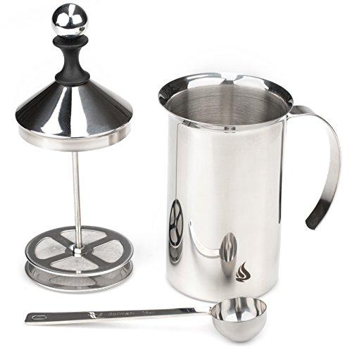 Bellmani manueller Edelstahl Milchaufschäumer 600 ml mit Doppelsieb + Kaffeemesslöffel als Geschenk erzeugt cremigen Milchschaum für 3 Tassen Cappuccino oder Espresso Macchiato