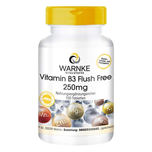 Vitamina B3 Flush Free in compresse di Warnke Vitalstoffe - 250mg - Vegan - 100 Compresse