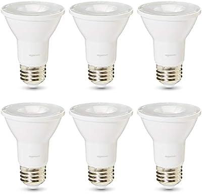 AmazonBasics Commercial Grade 25,000 Hour LED Light Bulb   50-Watt Equivalent, PAR20, 3000K White, Dimmable, 6-Pack