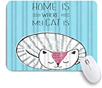 PATINISAマウスパッド ペットのスヌーズに疲れた動物のアニメーションアートで眠っている白猫 ゲーミング オフィ良い 滑り止めゴム底 ゲーミングなど適用 マウス 用ノートブックコンピュータマウスマット