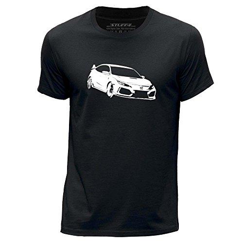 Stuff4 Herren/XX groß (XXL)/Schwarz/Rundhals T-Shirt/Schablone Auto-Kunst/Civic FK8