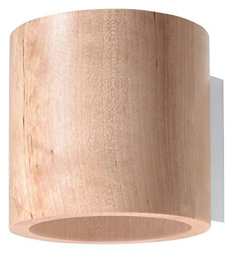 Sollux SL.0490 Orbi Applique murale moderne en bois naturel pour salon, chambre à coucher, salle de bain, couloir, bureau