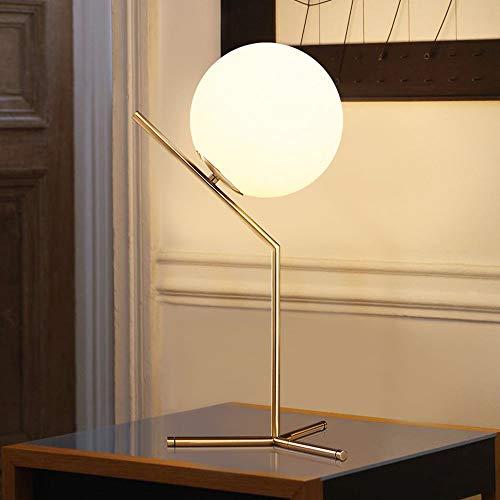 bella Una palla galleggiante di vetro lampada da tavolo sferica con telaio 20.0cm diametro della sfera) Lampada da tavolo realizzata in vetro opalino Luce bianca