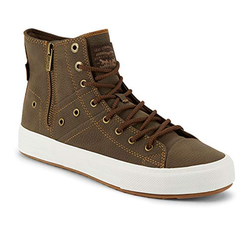 Levi's Mens Zip Ex Casual Mid-Top Fashion Zipper Sneaker Shoe, Brown/Tan, 10 M