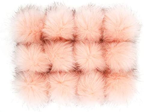 DIY 12pcs Faux Fox Fur Fluffy Pompom Ball for Hats Shoes Scarves Bag Charms Pink with Brown product image