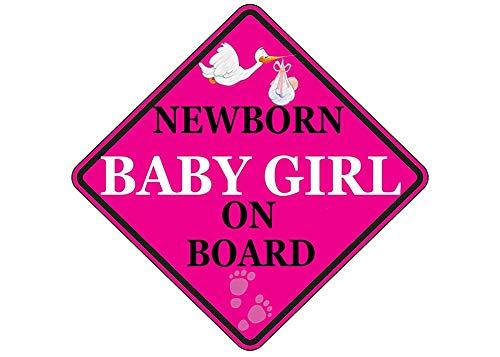 Roze pasgeboren baby meisje aan boord Sticker auto raam sticker bumper voertuig veiligheid sticker teken voor auto vrachtwagen SUV (1)