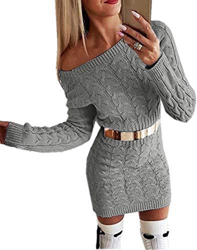 Flying Rabbit Damen Langarm PulloverKleid Damen Strickkleid Schulterfrei Rundhals Einfarbige Flim Partykleid Warmer Pullover Kleider Elegantes Midikleid (gy, s)
