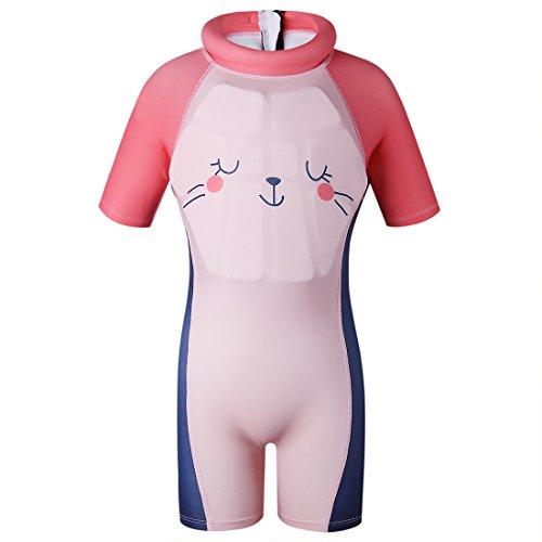 GWELL Kinder Float Suit Einteiler Bojen Badeanzug Auftrieb Schwimmanzug Bademode mit Schwimmhilfe für Jungen Mädchen Rosa M