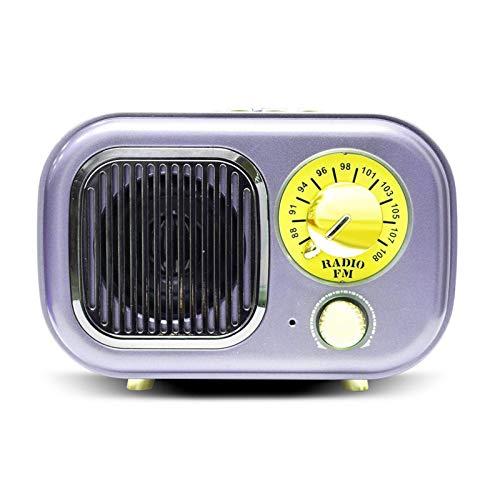 GANE Altavoces Bluetooth Radio Retro Portátil Regalo Clásico Estéreo USB Recargable Mini Música en Casa Reproductor de Mp3 Tarjeta de Radio Retro FM Azul
