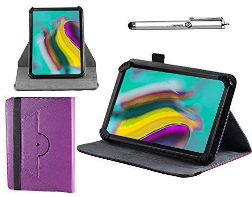 Preisvergleich Produktbild Navitech lila Ledertasche mit 360 Drehständer und Stift kompatibel mit dem Huawei Mediapad M5 10 / Huawei MediaPad M5 lite / Huawei MediaPad M5 lite 10
