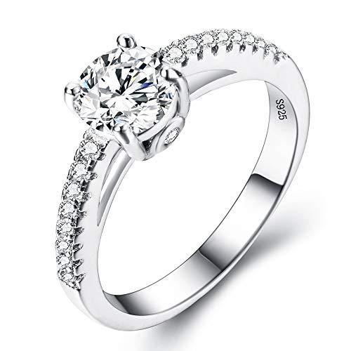 EVER FAITH 925 argento sterling classico taglio rotondo .25ct Cubic Zirconia anello di fidanzamento Clear - Misura 12