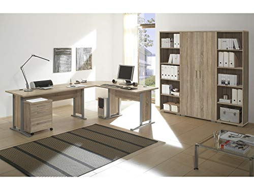 möbelando Büro-Set Büroprogramm Bürokombination Büroeinrichtung Komplettset Clermont I Sonoma-Eiche