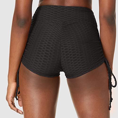 Amazon Brand - Hikaro Women High Waisted Ruched Butt Lifting Athletic Hot Tight Leggings Power Flex Sport Shorts Black X-Large