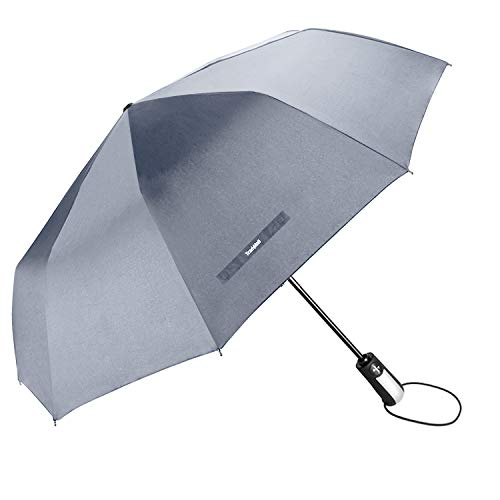 TradMall Travel Umbrella Windproof with 46 Inches Large Canopy 10 Reinforced Fiberglass Ribs Ergonomic Handle Auto Open & Close, Gray