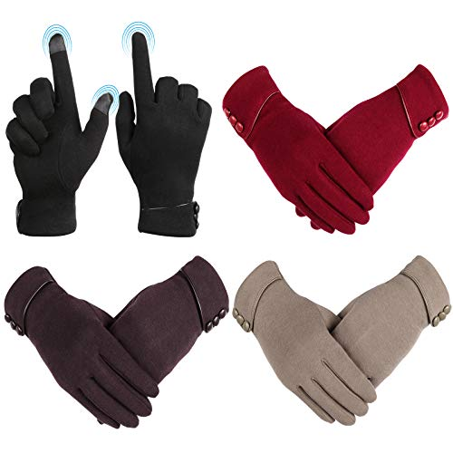 Feizhibo Damen Winterhandschuhe, Touchscreen Handschuhe Erweiterte Eleganz Warme Plüsch-Handschuh Gefüttert Winddicht mit Fleecefutter