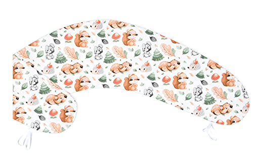 Amilian Funda, funda de almohada para cojín de lactancia, cojín para dormir de lado, almohada para Pregnancancy, funda de almohada; funda de repuesto; tamaño aprox. 170 cm, ardilla