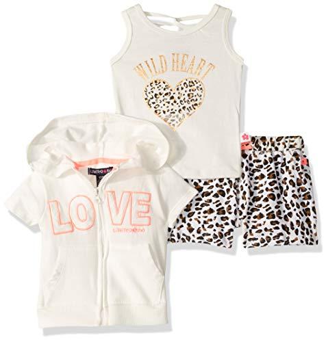 Limited Too Sleeve Jacket, Tank Top, and Pull-On Short Set Juego de Pantalones Cortos, Estampado Animal Multi, 12 Meses para Bebés