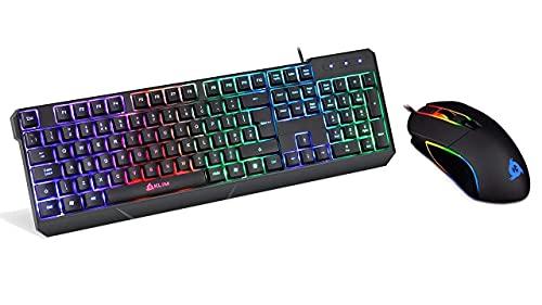 KLIM RGB Keyboard + Mouse Bundle - KLIM Chroma USB Keyboard + Aim USB Gaming Mouse - New 2021 - Black