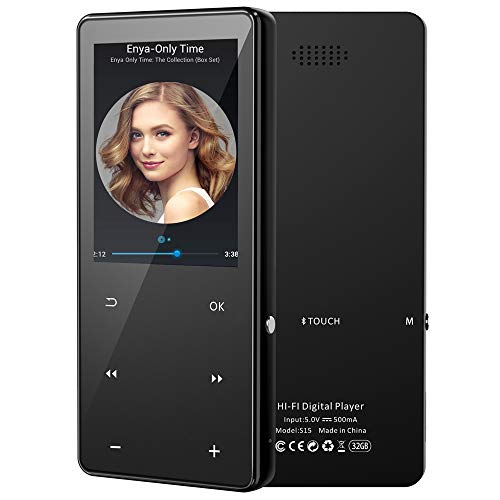 32GB MP3 MP4 Player with Bluetooth 5.0, High Resolution and Full Touch Screen, Built-in Speaker, Portable HiFi Lossless Sound 2.4' Large Screen Music Player with FM Radio Voice Recorder Video Player