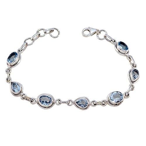 sterling silber blau blue topas facettiert gute edelsteine armband - liefern schmuck feinverkauf artikel geschenk für muttertag name armband