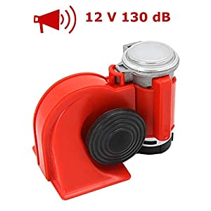 Bocina Evermotor 130DB 12V Bocina Fanfare Aire comprimido Bocina de aire Trompeta Bocina de aire comprimido Compresor rojo para camiones Trenes Barcos Coches SUV