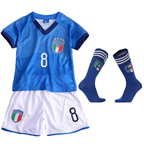 OBTAIN Brasilianische Fußballuniformen, Jungen und Mädchen können die Balluniformen anpassen, wiederholbares Waschen, Trikots der Nationalmannschaftsmeisterschaft, Socken schicken-blue-16