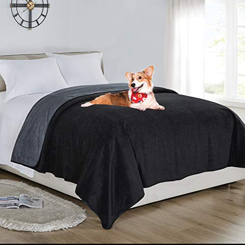 softan Wasserdichte 100 % auslaufsichere Decke für Babys, Erwachsene, Haustiere, Hunde, Katzen, pinkelfest, 3-lagiger Schutz für Bett, Sofa und Couch, Doppel-/Loveseat, 178 x 230 cm, Anthrazit