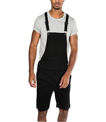 Mens Bib Overall Shorts Denim Jeans Casual Loose Fit Walkshort Jumpsuit Pockets Rompers,Black,XXL