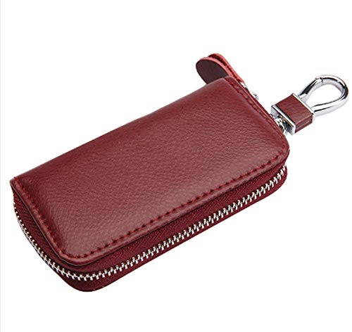 Anan Premium Leather Car Key Holder Bag Keychain Case Wallet with 6 Hooks Zipper Closure (red wine)