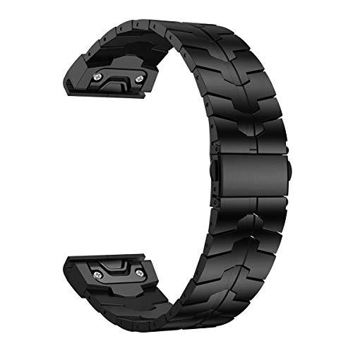 LDFAS Fenix 5X/6X Band, 26mm Titanium Metal Quick Fit Watch Strap with Enhanced Durability Version Compatible for Garmin Fenix 5X/5X Plus/6X Pro/Descent Mk1/ Smartwatch, DLC- Black