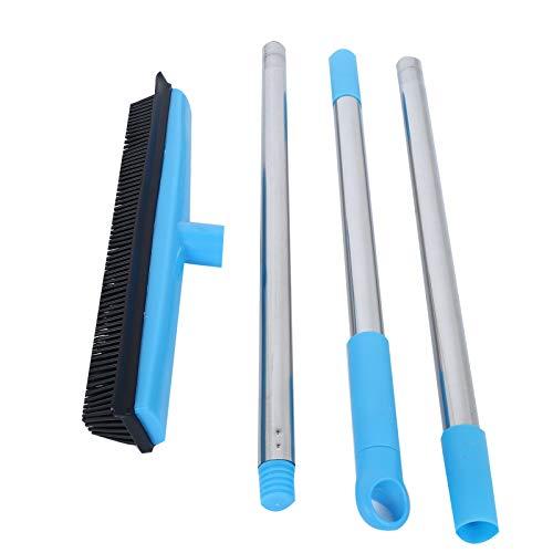Escoba de goma, Escoba telescópica para alfombras de piso, Herramientas de limpieza para eliminar el polvo de pelo de mascotas(Azul)