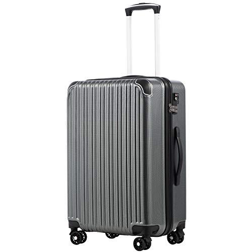[クールライフ] COOLIFE スーツケース キャリーバッグダブルキャスター 二年 機内持込 ファスナー式 人気色 超軽量 TSAローク (カーボン, M サイズ(24in))
