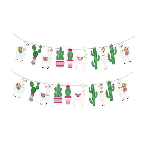 PRETYZOOM 2 stks Llama Ezel Pinata Cactus Banners Hangende Bunting slingers voor Mexicaanse thema Party Fiesta Cactus Verjaardag Baby Douche Cinco de Mayo Party Decoratie benodigdheden