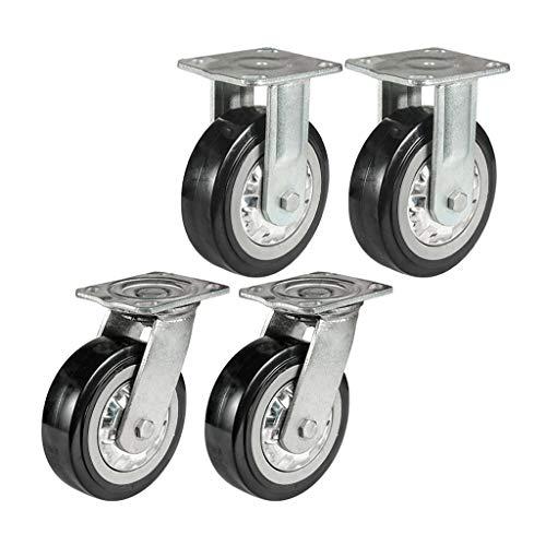 YQ wielen zwenkwielen, high-performance metalen wielen, 4/5/6/8 inch, polyurethaan remwielen, geruisloze wielen met 360 graden zwenkwielen (verpakking van 4 stuks)