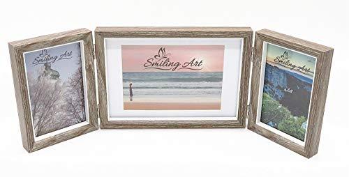 Smiling Art klappbarer Bilderrahmen für 3 Fotos in Querformat und Hochformat (Dunkelgrau, 2x10x15 cm + 1x13x18 cm)