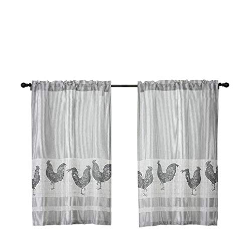 SXZJTEX Cafe Kitchen Curtain Tiers for Small Window Rooster Stripe Rustic Country Drapes, Rod Pocket Panels for Kitchen, Barnyard, Drape, 27 Inch Wide x 24 Inch Long, 2 Panels, Gray